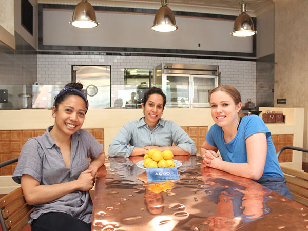 At Agno Grill´s copper-topped communal table (from left): general manager Christina Ponsaran, co-owner Kriti Sehgal, and chef Sarah Ginn.