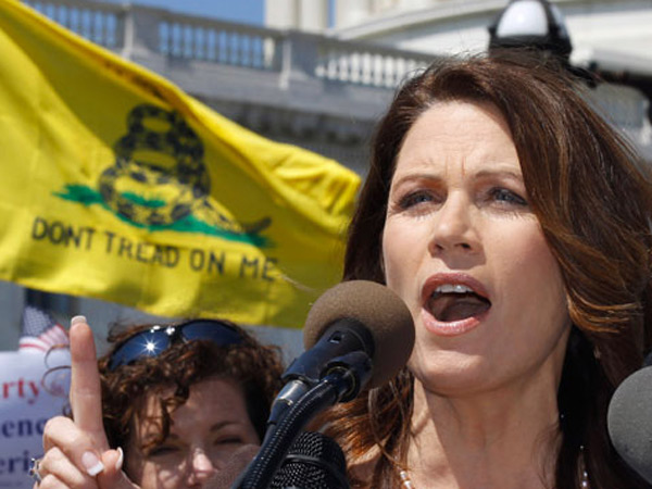Michelle Bachmann speaks at a Tea Party rally in April 2011. (AP Photo/Alex Brandon)