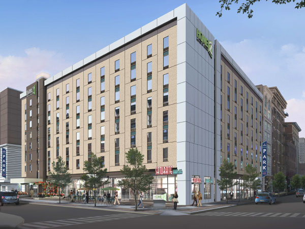 Artist´s rendering of the Home2 Suites by Hilton opening this summer on the southwest corner of 12th and Arch Streets. The Panera will be at the corner, with BurgerFi to the left, closer to Filbert Street.