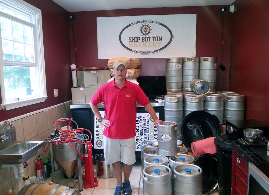 Ship Bottom Brewing owner Rob Zarko, in his Wallingford garage-cum-brewhouse. The business uses only half the building.