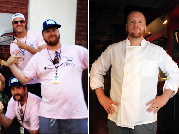 Amis chef Brad Spence in the before (at left) and lighter on June 28.