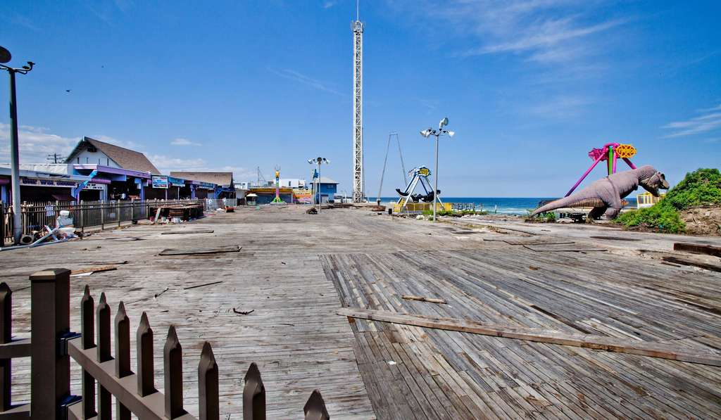 FunTown Pier on Seaside Park´s boardwalk was severely damaged by Hurricane Sandy and is still closed. But the cleanup continues.