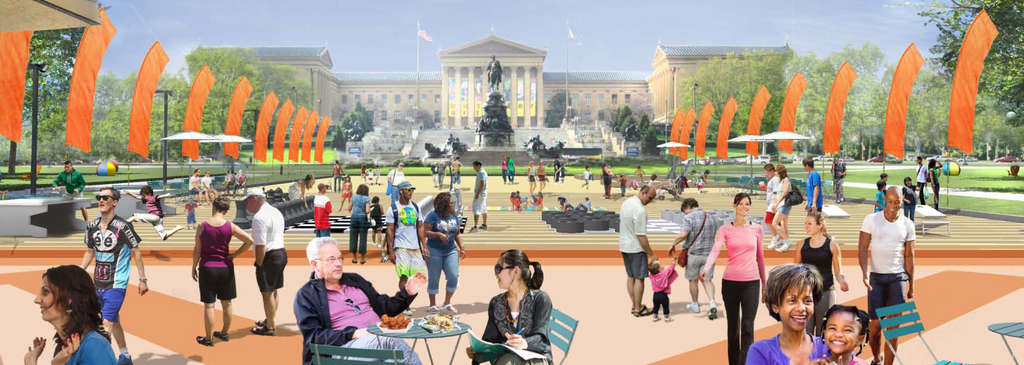 """""""The Oval."""" The goal is to """"animate"""" Eakins Oval to bea center of fun, the first of four Parkway places targeted for enhanced recreation, July 17 through Aug. 18."""
