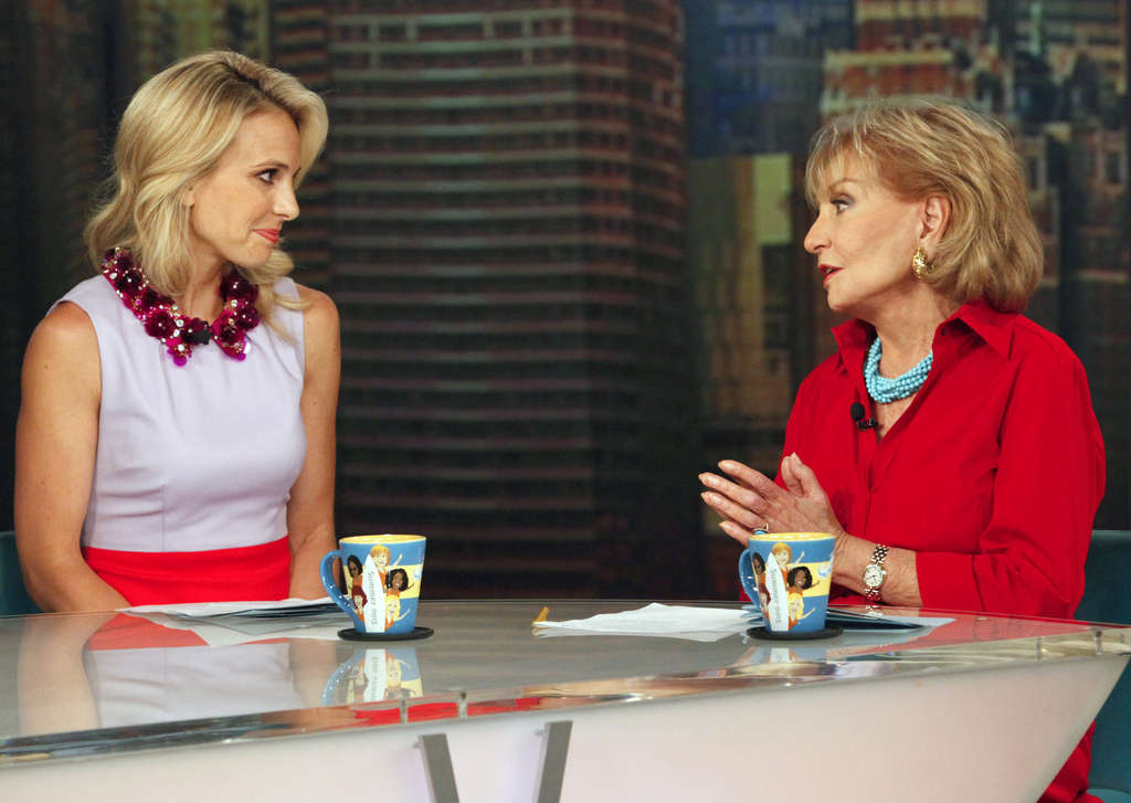 """Elisabeth Hasselbeck (left) on her last day on """"The View,"""" with Barbara Walters. Hasselbeck will join Fox News Channel in September."""