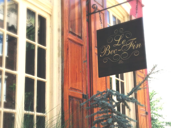 The temporary Le Bec-Fin sign outside Vetri at 1312 Spruce St.