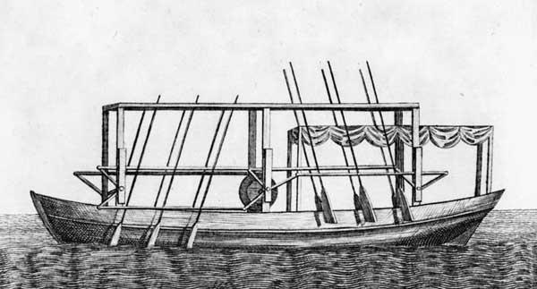 """Plan of Mr. Fitch´s Steam Boat."" Wood engraving by James Trenchard. December 1786. The Columbian Magazine, Philadelphia, Pennsylvania. Library of Congress, via Wikimedia."