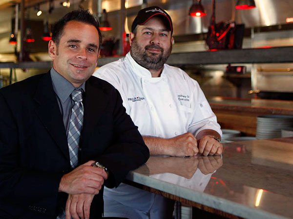 Dave Magrogan and chef Anthony DiPascale at Stella Rossa.