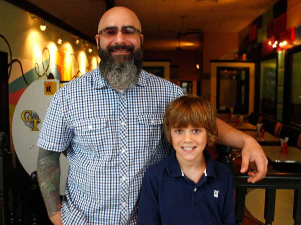 Alex Capasso and his son, Benny, in Benny´s Burger Joint, in the former Woolworth´s in Collingswood.