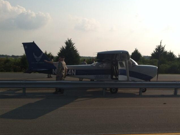 An Air Force airplane landed on a busy Delaware highway during rush hour and remained on the road as of 8 p.m., according to a Delaware state police spokesman.