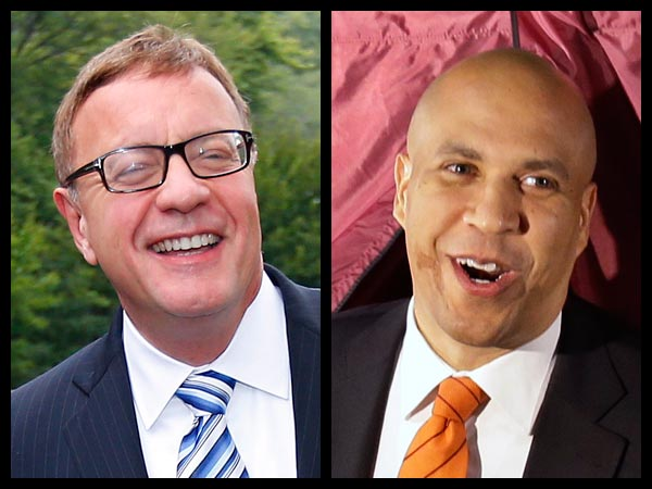Republican Steve Lonegan, left, will take on Democrat Cory Booker in the Oct. 16 special election for the U.S. Senate seat of Frank Lautenberg. (AP photos)