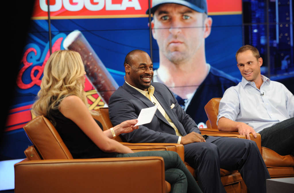 """Chatting it up on the sofa are Charissa Thompson, Donovan McNabb, and Andy Roddick on """"Fox Sports Live."""" Critical reaction to the Fox Sports 1 channel has been mixed."""