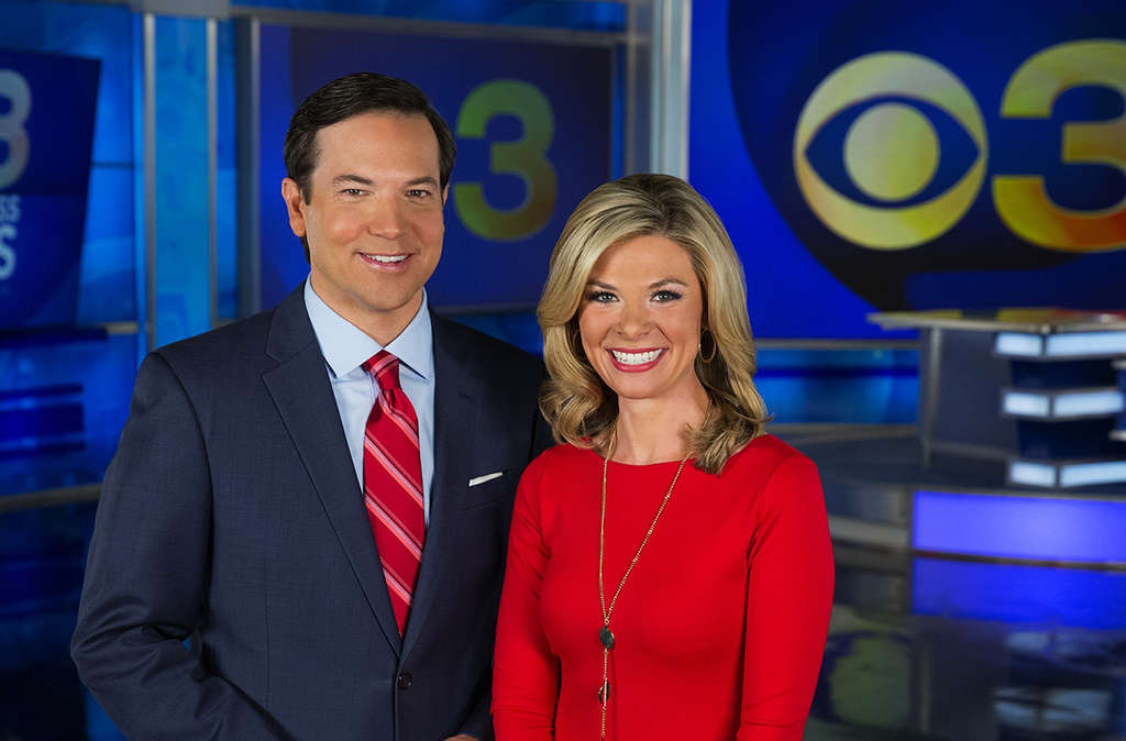 Jessica Dean, with coanchor Chris May. She and her husband are still settling into the city.