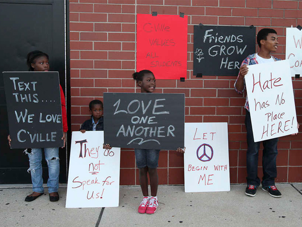 Students showing support for Coatesville teachers and the district before Tuesday´s school board meeting.