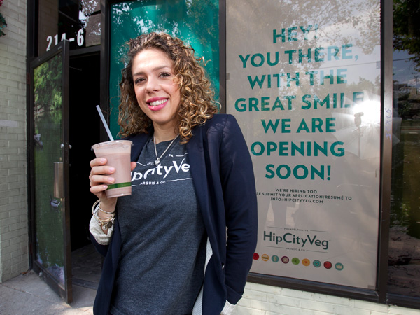 Nicole Marquis, outside her HipCityVeg at 214 S. 40th St.