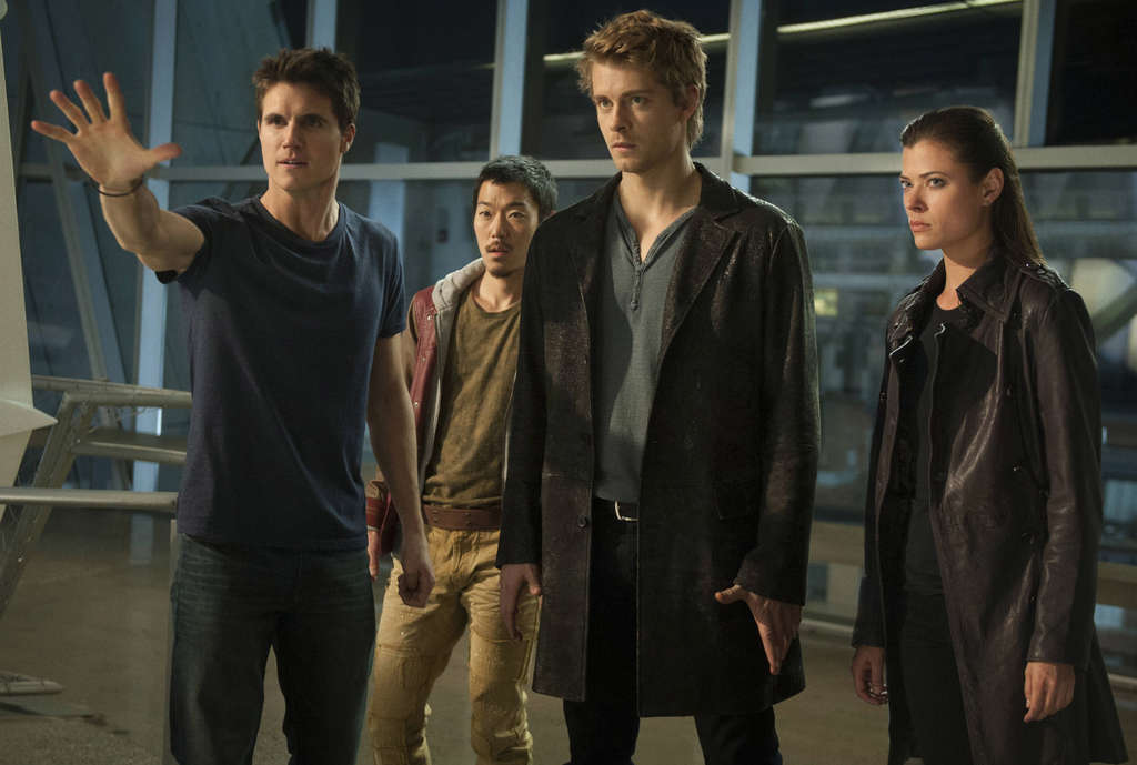"""The Tomorrow People,"" which premieres Wednesday on the CW, stars (from left) Robbie Amell as Stephen, Aaron Woo as Russell, Luke Mitchell as John, and Peyton List as Cara."