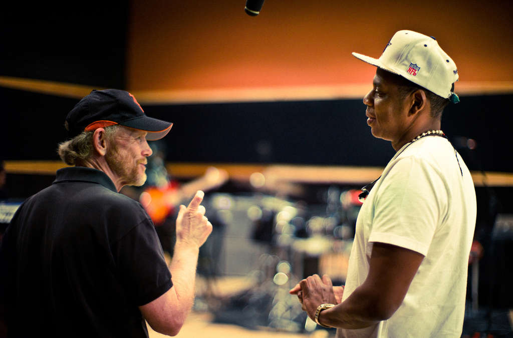 "Director Ron Howard and Jay Z (Shawn Carter) during the filming of the documentary ""Made in America."""