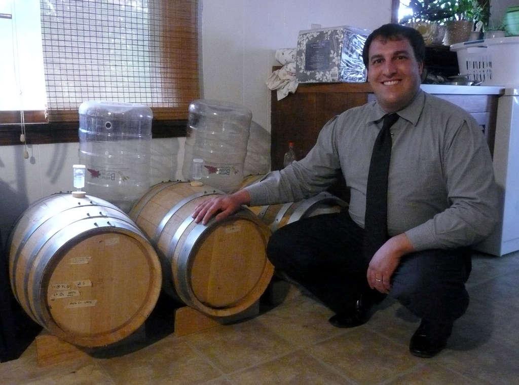 Dan Popernack, of La Cabra, shows off his oak-barreled beers.