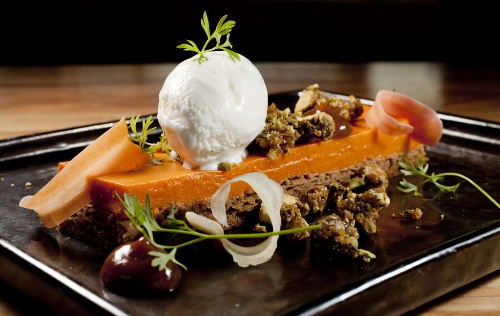 "For dessert, a carrot ""crémeux"" over a pastry of pistachio gingerbread."