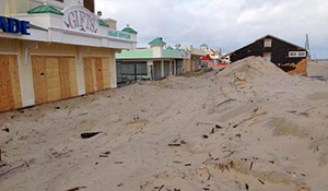 Much of Jenkinson´s Boardwalk in Point Pleasant was covered with sand and impassable. (NJ Spotlight)