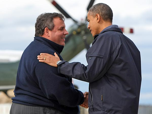 Gov. Christie greets President Obama before an aerial tour of Hurricane Sandy damage at Atlantic City Airport in Atlantic City, N.J. on Oct. 31, 2012. (Governor´s Office/Tim Larsen)