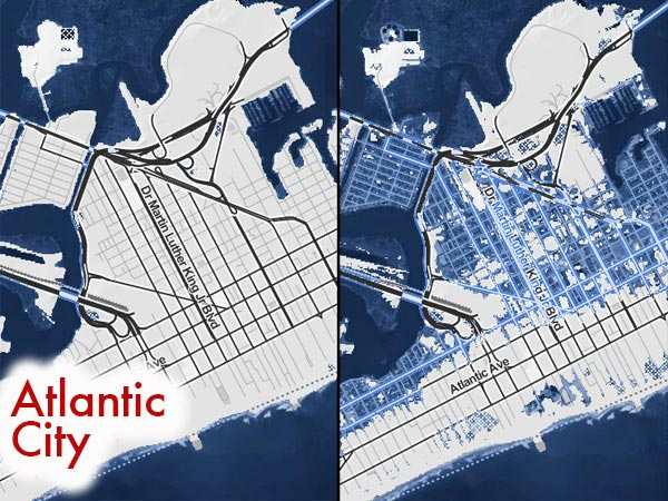 Atlantic City today, shown at left, shows no flooding at high tide. But a four-foot rise in sea level, which some scientists say is already inevitable, would mean water in the streets for many sections of the city, indicated by blue shading at right. Similar maps for other Shore towns follow. (ClimateCentral.org)