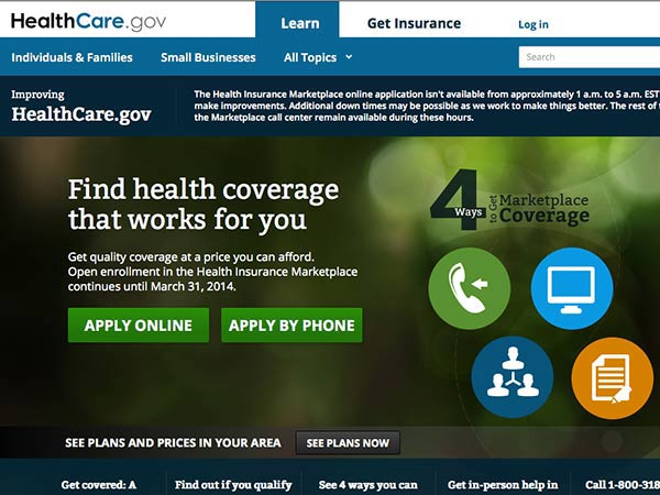 The home page of www.healthcare.gov.