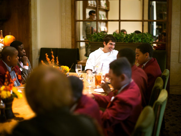 Chef Jon Cichon has lunch with students in Palates to Palettes.