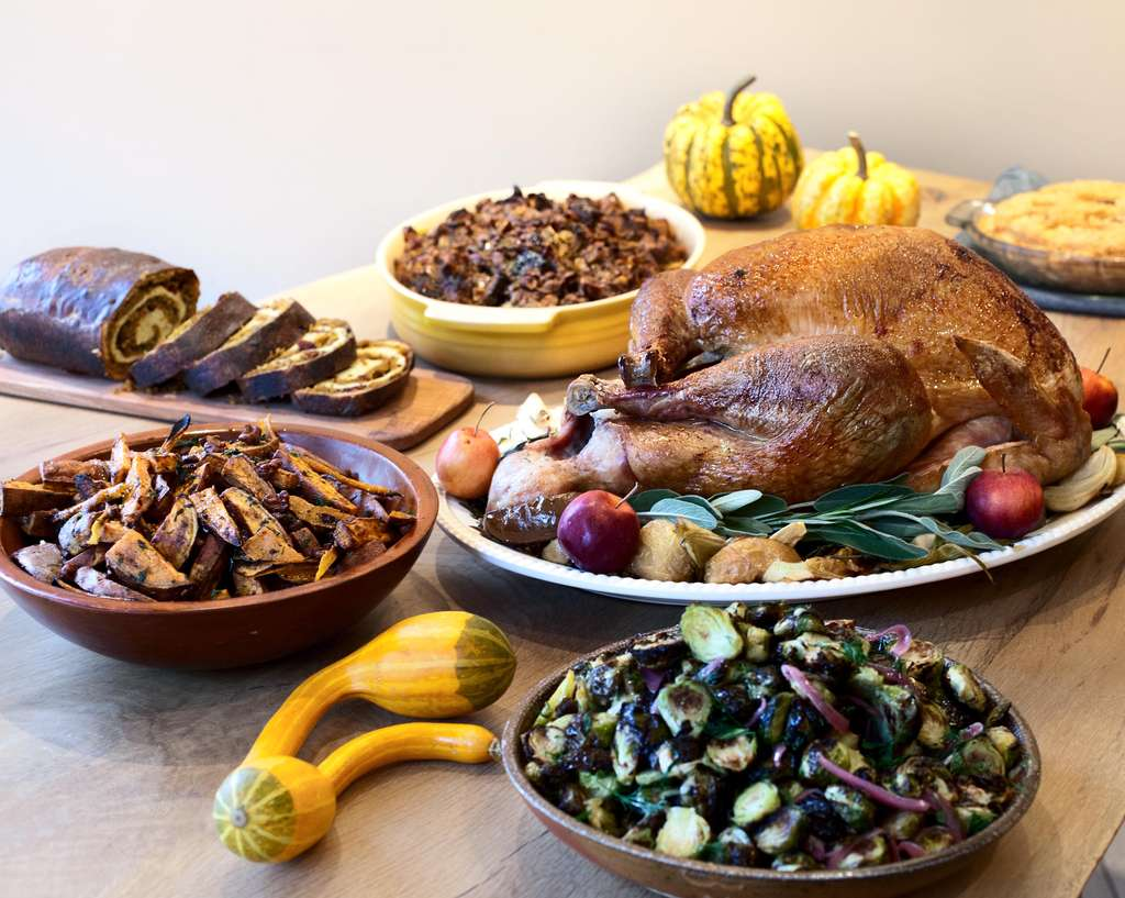 Thanksgiving dinner prepared by chef Eli Kulp of Fork features mega-brined turkey, cracked corn porridge - and shoofly pie.