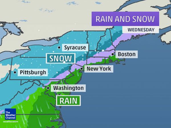 The storm could bring strong winds and heavy rain to much of the Phiadelphia region, with snow possible, forecasters say. (www.weather.com)