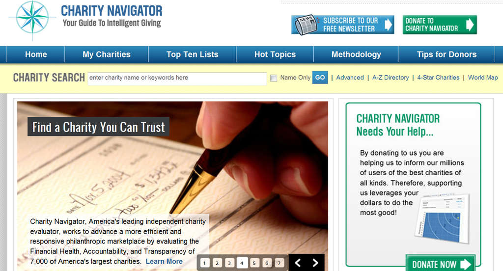 The Charity Navigator website rates about 6,000 nonprofit organizations.