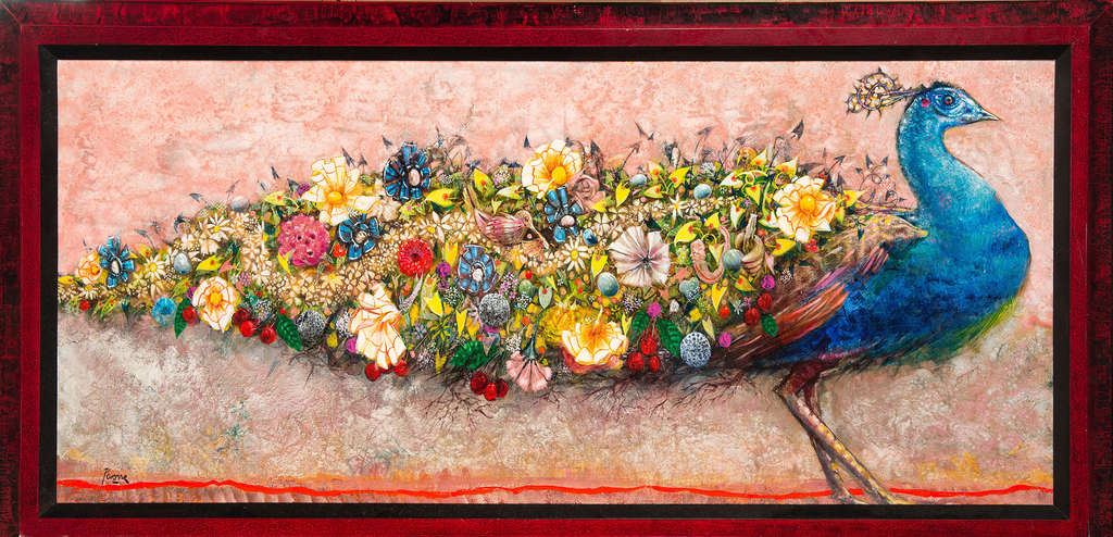 """Peacock,"" acrylic on panel, 2003, is a bird encrusted with all manner of exotic flowers and other creatures representing a life´s accumulation of experience. In this case, it´s the artist´s experience, but it could be any of us."