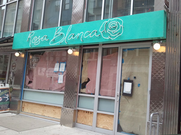 Sign went up on Dec. 3 at Rosa Blanca, 707 Chestnut St.