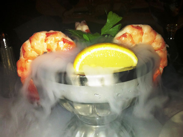 Smoking shrimp cocktail.