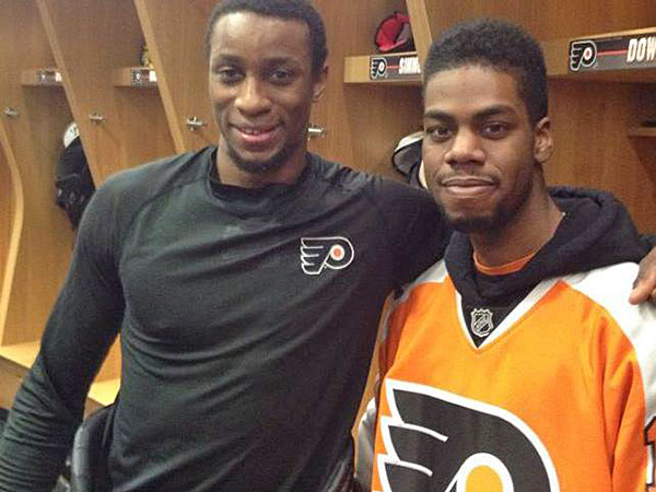 Flyers winger Wayne Simmonds meets Philly hero and huge Flyers fan Brandon Burwell today. (Photo by Kim Burwell)