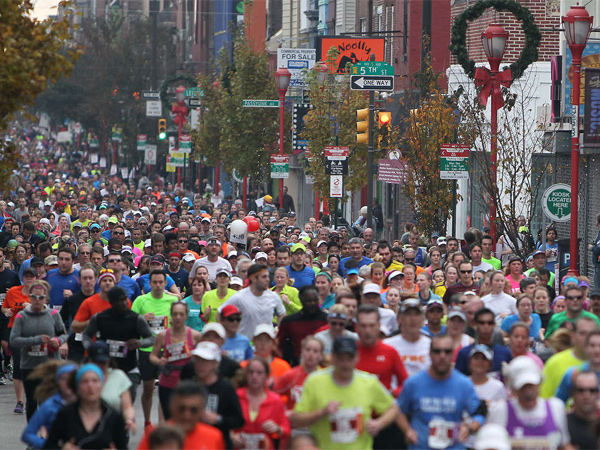 Runners on South Street during the Philadelphia Marathon in November, on one of the rare days when they are welcome on city paths.