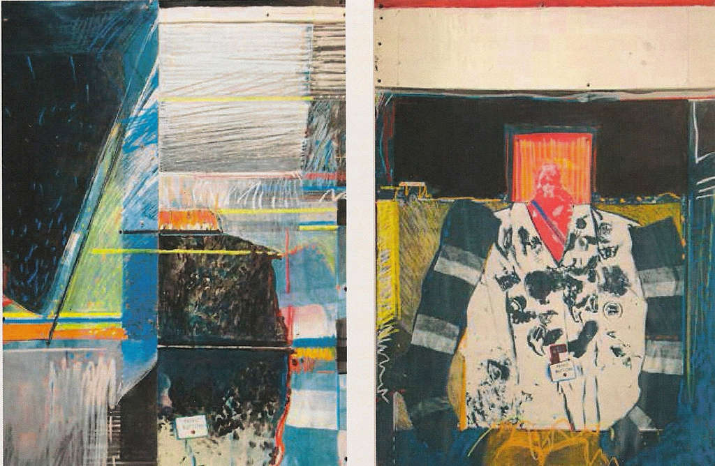 "Lois M. Johnson´s collage diptych, ""Untitled (Panic Button),"" explores the interaction of humans with their surroundings."