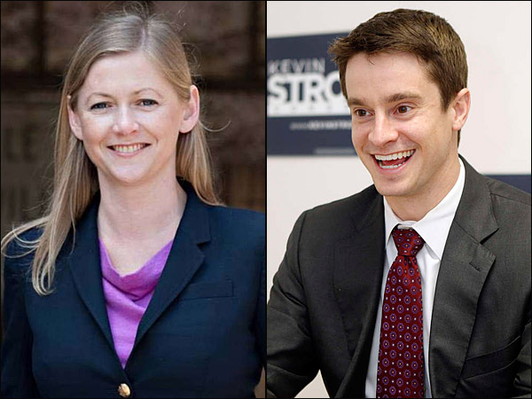 Kevin Strouse (right) and Shaughnessy Naughton are vying for the Democratic nomination to run against Republican incumbent Mike Fitzpatrick in Pennsylvania´s Eighth Congressional District.