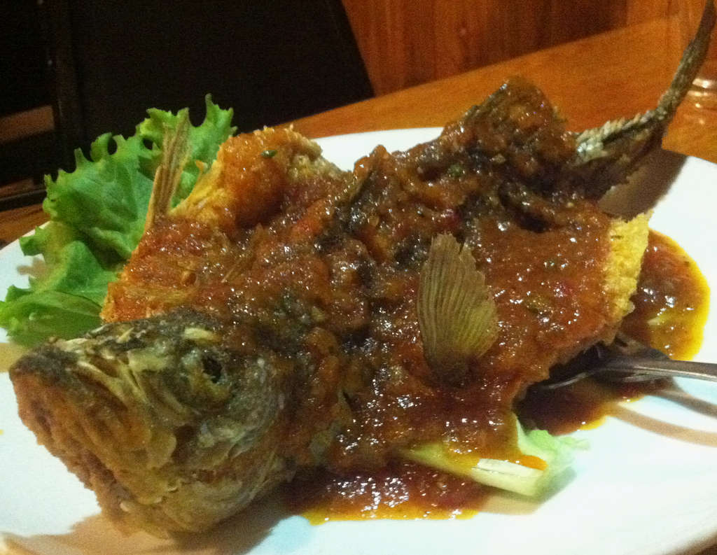 Crispy whole striped bass with Thai sauce at the Banana Leaf.