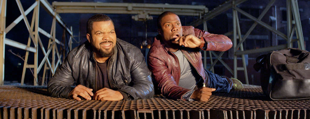 "In ""Ride Along,"" veteran cop James (Ice Cube) patrols as security guard Ben (Kevin Hart) tags along."