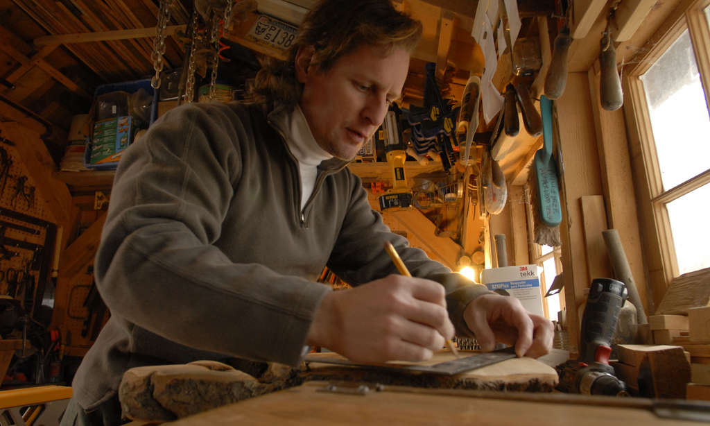 David Hughes in his woodshop in Doylestown.