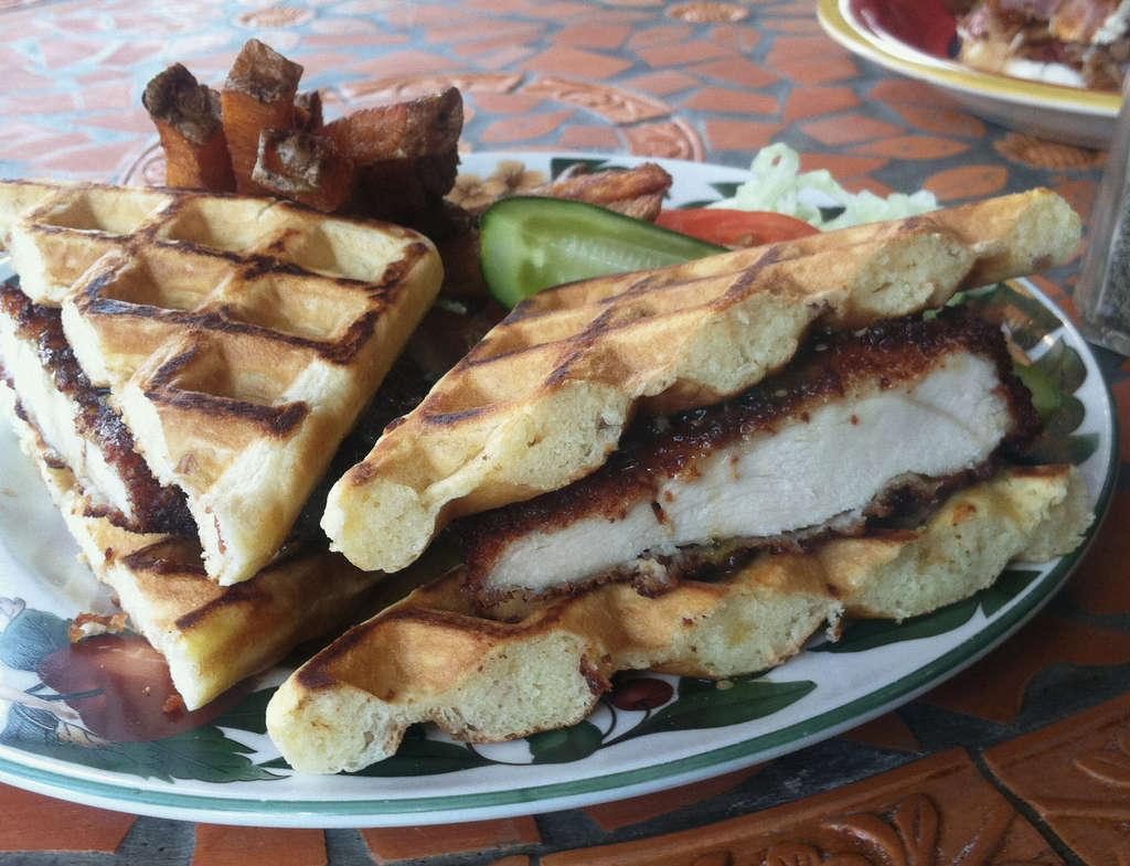 Porto´s Yo Cuz, a chicken cutlet between two bacon-cheddar waffles.
