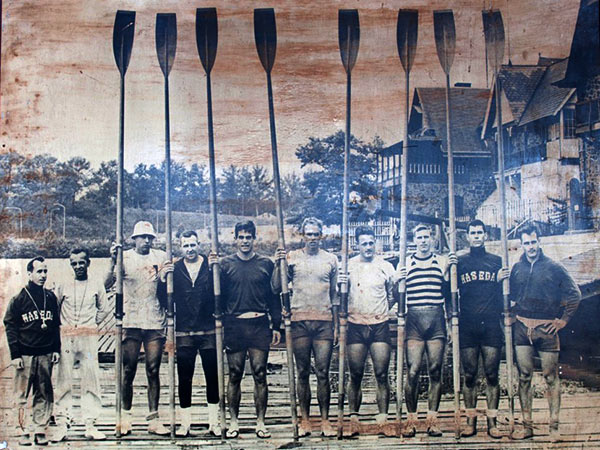 The eight-man crew from Vesper Boat Club in Philadelphia wwept the national trials and, in a huge upset, headed for the 1964 Tokyo Olympics. (Source: vesperboatclub.org)