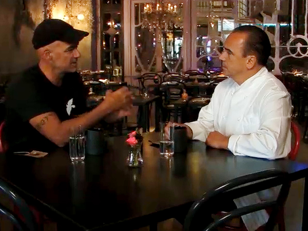 """On """"Dangerous Grounds,"""" Todd Carmichael gets a briefing by chef Jean-Georges Vongerichten."""
