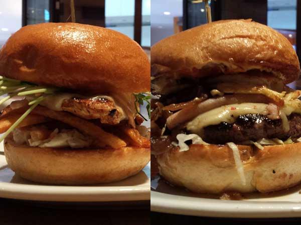 Zinburger´s Hawk´s Nest Bird-ger (left) and Mile-High Burger.