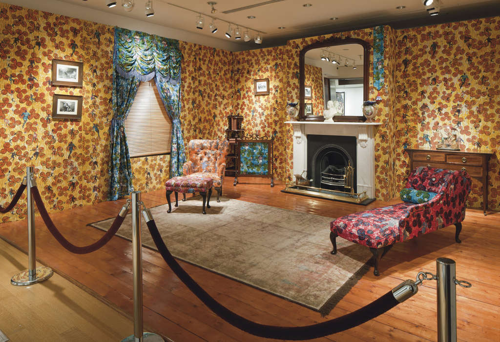 """""""Victorian Philanthropist´s Parlour,"""" Yinka Shonibare´s 1996-97 mixed-media work. """"African"""" textiles are printed in the Netherlands by a process developed in what is now Indonesia, formerly a Dutch colony; it´s the artist´s warning on stereotypes."""