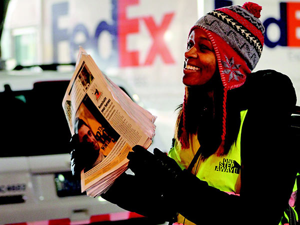 September is working to improve her life through employment with One Step Away and earns enough money to attain her own housing. She can be found distributing the newspaper in Center City.