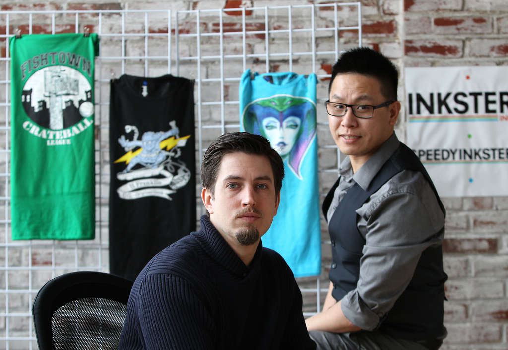DAVID MAIALETTI / STAFF PHOTOGRAPHER Jonathan Dubrowski (left) and Douglas Wong created InksterInc. for artists to cash in on T-shirt designs.