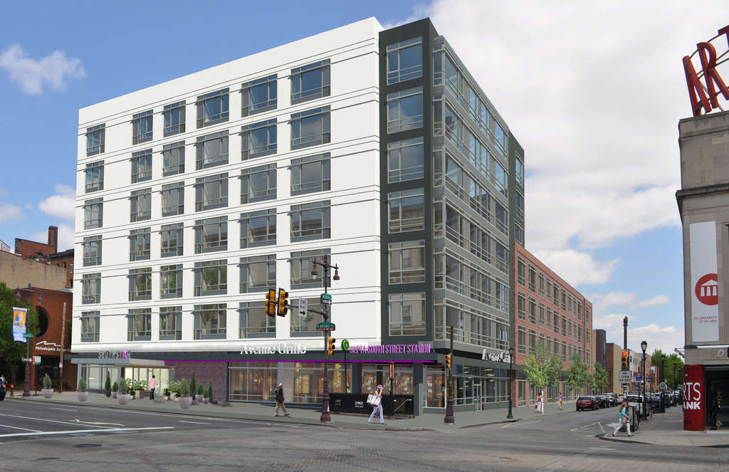 Southstar Lofts ( in an artist´s rendering), is turning out to be a rather staid white box. Dranoff´s mixed bag of projects raises the question: Is S. Broad to be a grand boulevard or a generic apartment row?
