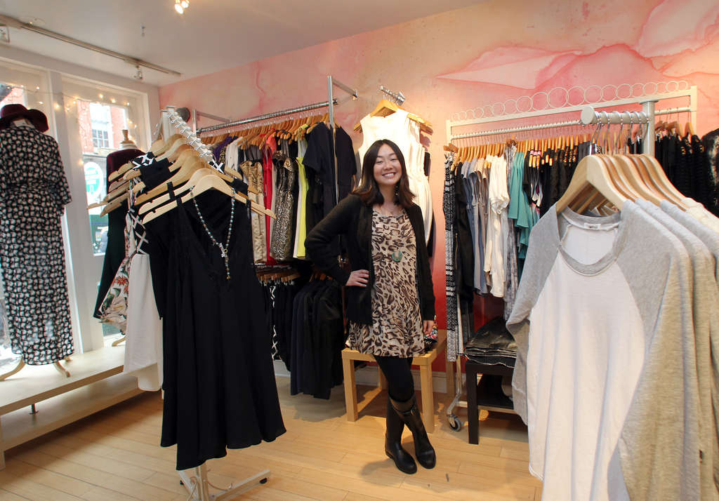 Cortney Cohen, owner of The Geisha House, stands near clothing inside the Old City women´s boutique on Wednesday, February 5, 2014.  (Yong Kim / Staff Photographer)