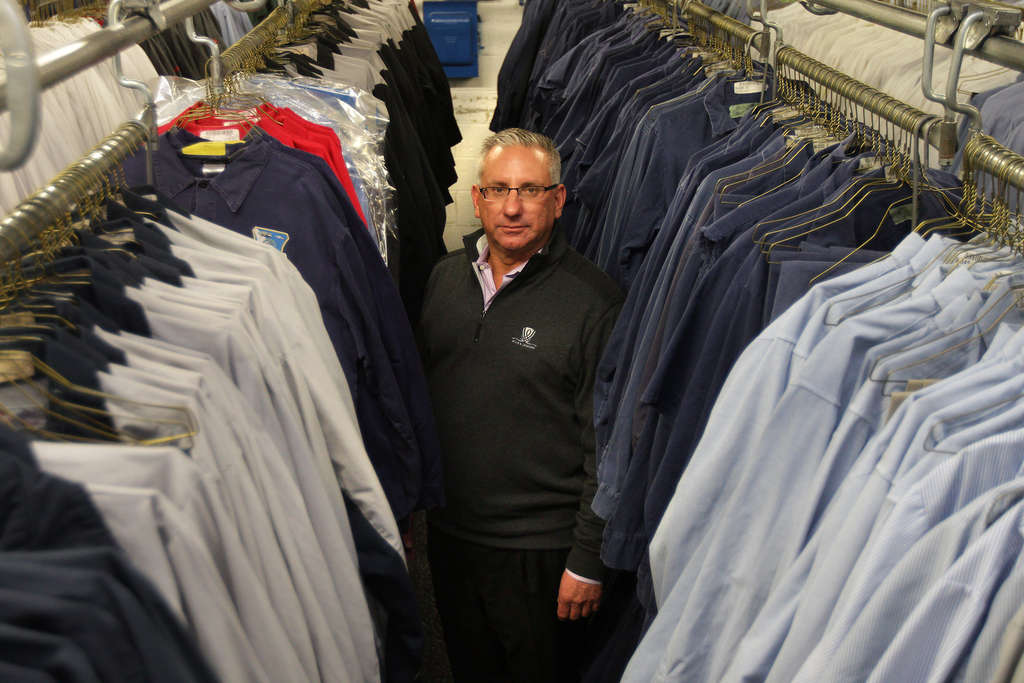 DAVID MAIALETTI / STAFF PHOTOGRAPHER More than 100,000 of Clean Rental´s uniforms are worn every day. The company was founded in 1918 by the grandfather of current CEO Jim Wasserson.